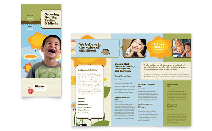Inside of a Tri-Fold Brochure for a Collaborative Family Law - daycare flyer template