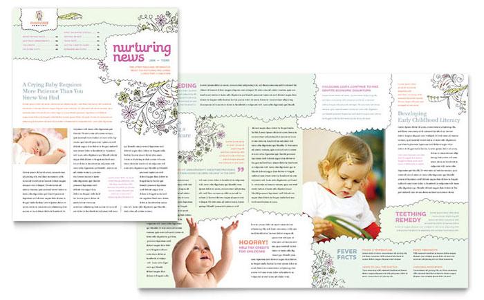 Babysitting  Daycare Newsletter Template Design - babysitting pamphlets