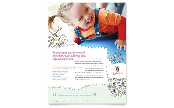 Babysitting  Daycare Flyer Template Design - Daycare Flyer Template