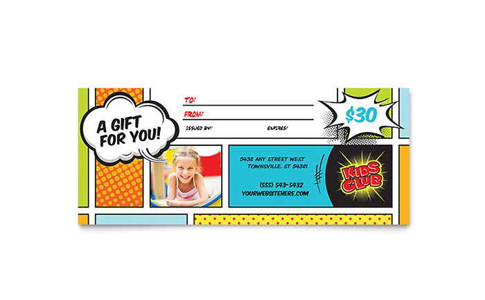 Kids Club Gift Certificate Template Design - certificate template for kids