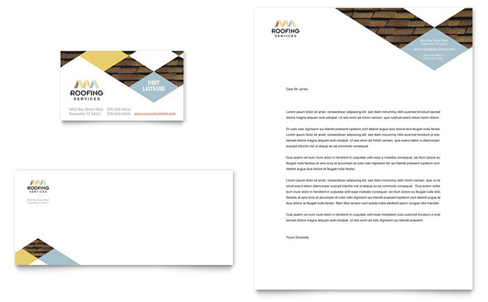 Roofing Contractor Business Card  Letterhead Template Design - roofing contract template