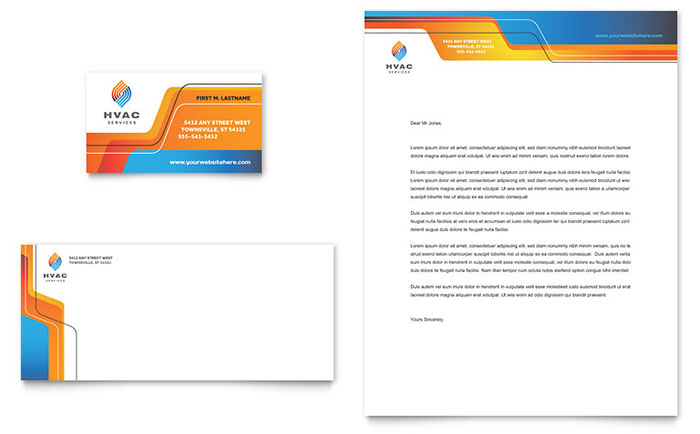 Create A Custom Letterhead Template In Word Techrepublic Hvac Business Card And Letterhead Template Design