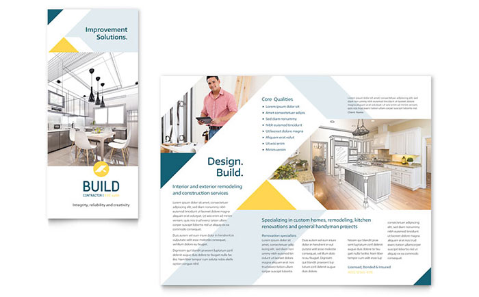 Contractor Brochure Template Design - free pamphlet design