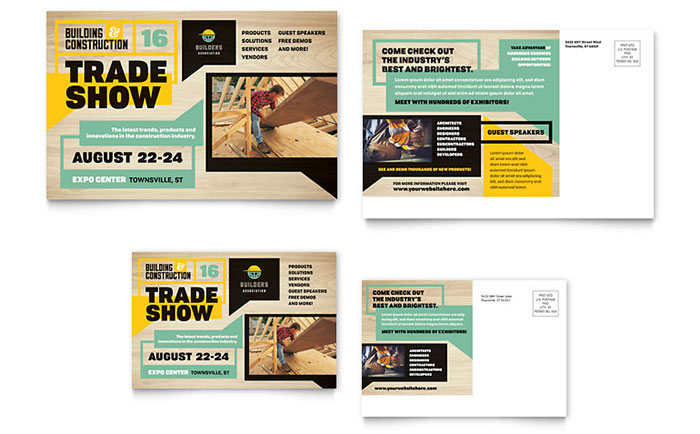 Builder\u0027s Trade Show Postcard Template Design - Microsoft Word Postcard Template