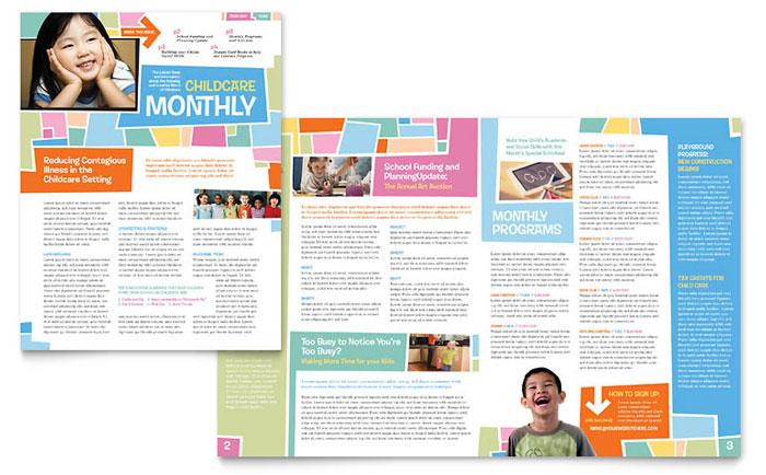 Preschool Kids  Day Care Newsletter Template Design - preschool newsletter template