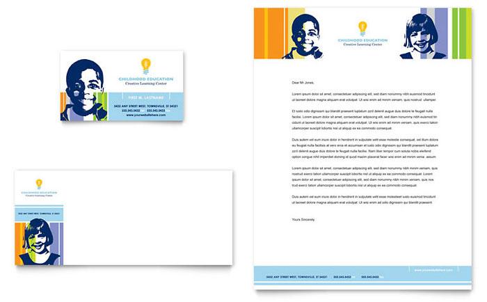Learning Center  Elementary School Business Card  Letterhead