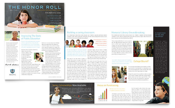 Education Foundation  School Newsletter Template Design