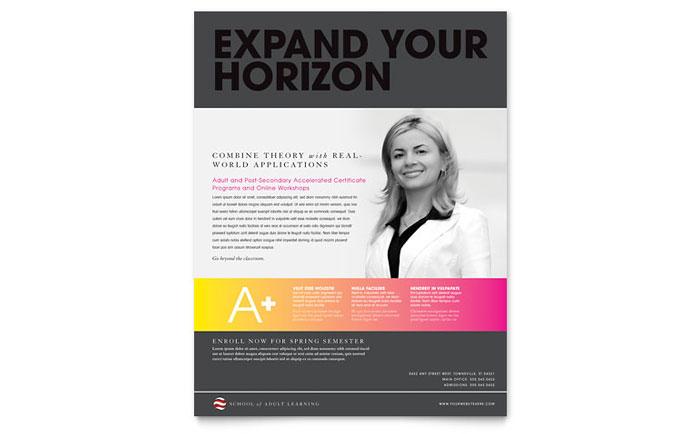 Adult Education  Business School Flyer Template Design