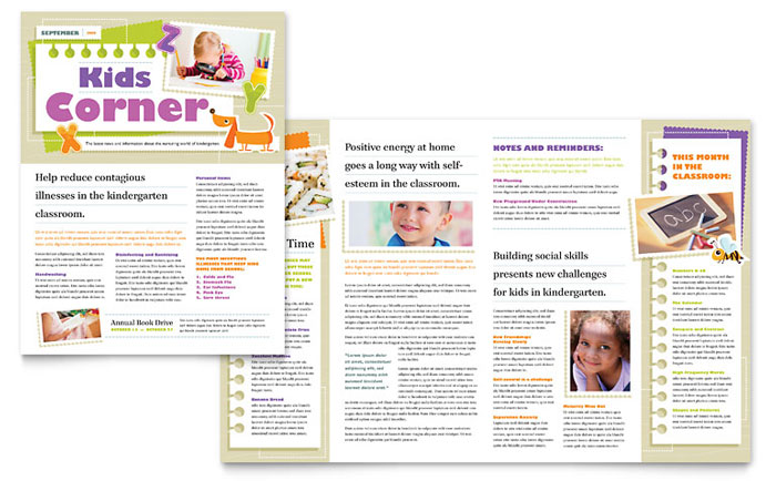 Kindergarten Newsletter Template Design - kindergarten newsletter template