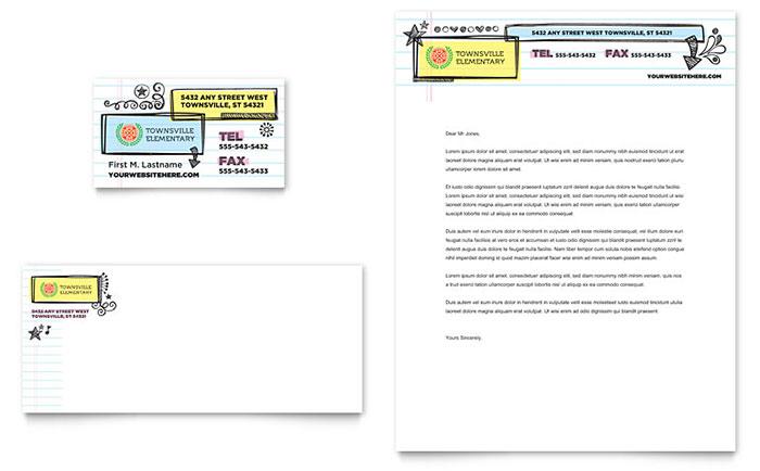 Elementary School Business Card  Letterhead Template Design