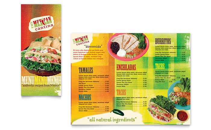 Mexican Restaurant Take-out Brochure Template Design - restarunt brochure
