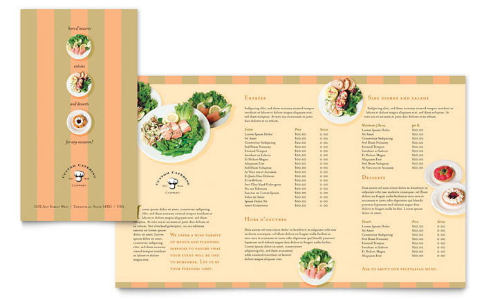 Catering Company Take-out Brochure Template Design - take out menu template microsoft word