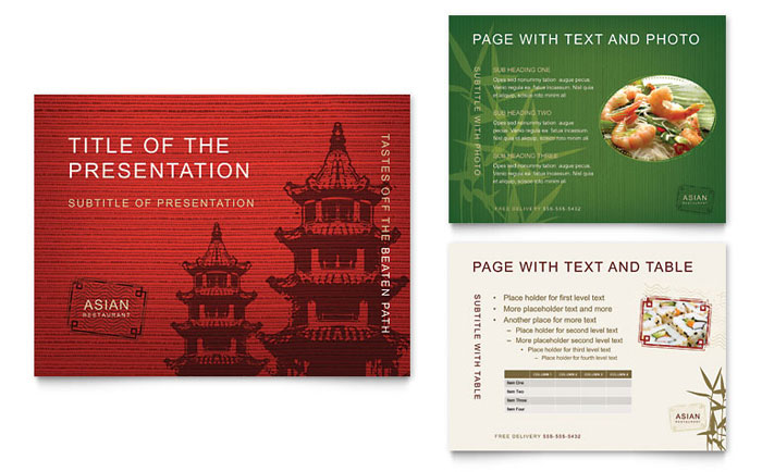 Asian Restaurant PowerPoint Presentation Template Design - restaurant table layout templates