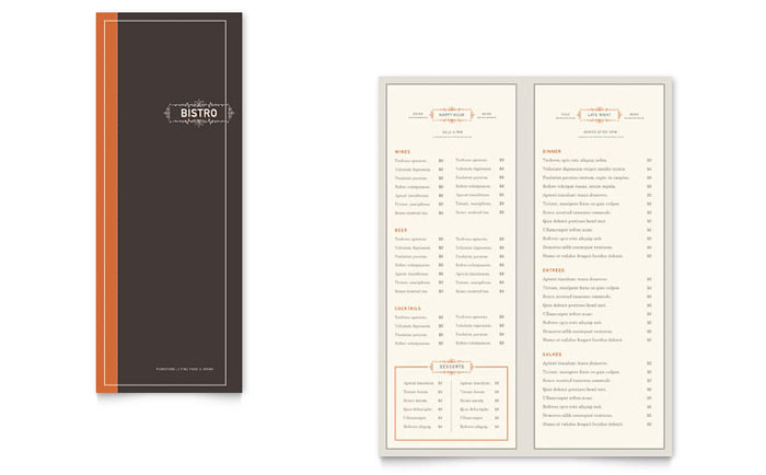 Bistro  Bar Menu Template Design - Free Drink Menu Template