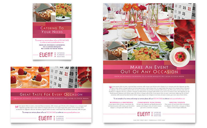 Corporate Event Planner  Caterer Flyer  Ad Template Design