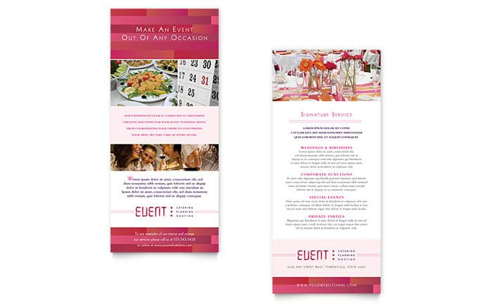 Corporate Event Planner \ Caterer Rack Card Template Design - event card template