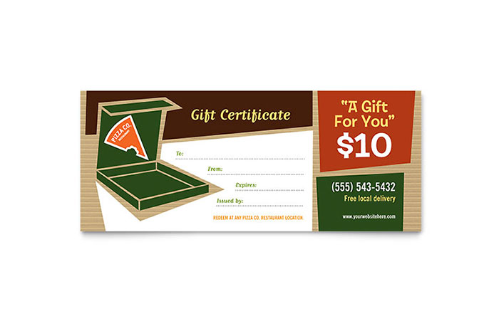 Pizza Pizzeria Restaurant Gift Certificate Template Design - gift card templates