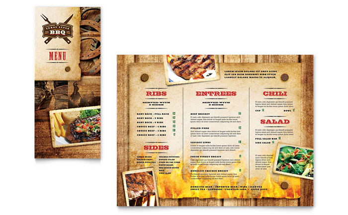 Steakhouse BBQ Restaurant Take-out Brochure Template Design