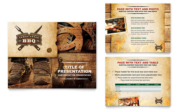 Steakhouse BBQ Restaurant PowerPoint Presentation Template Design - restaurant table layout templates