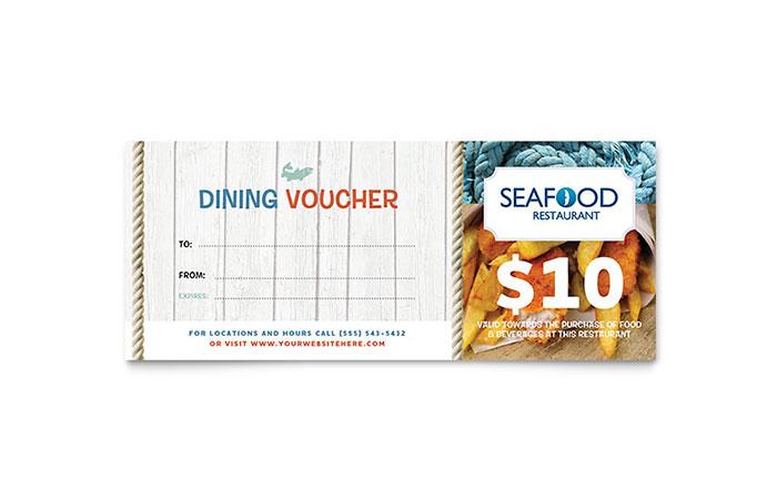 Seafood Restaurant Gift Certificate Template Design - food voucher template