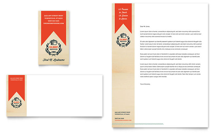 Culinary School Business Card  Letterhead Template Design