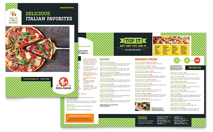 Pizza Parlor Menu Template Design