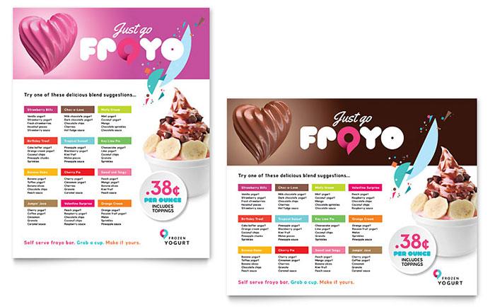 Frozen Yogurt Shop Poster Template Design