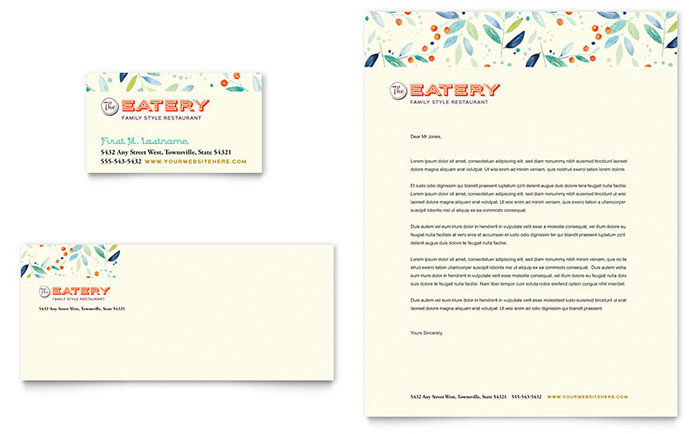 Family Restaurant Business Card  Letterhead Template Design - microsoft stationery template