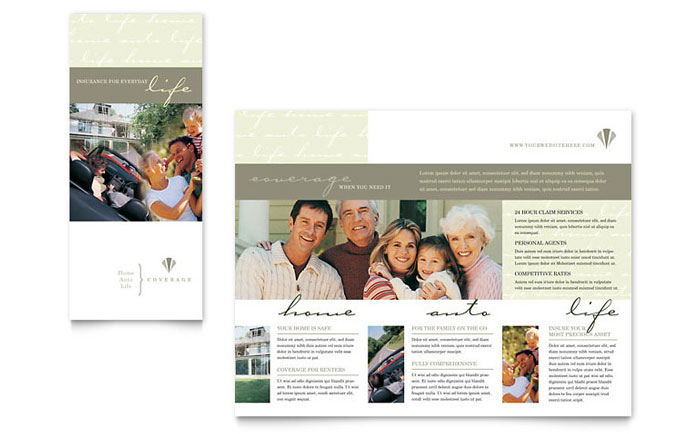 Life  Auto Insurance Company Brochure Template Design - insurance flyer templates