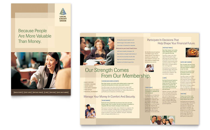 Credit Union  Bank Brochure Template Design