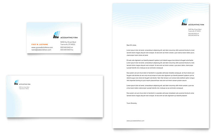 Accounting Firm Business Card  Letterhead Template Design