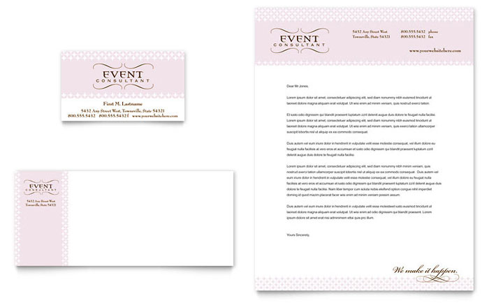 Wedding \ Event Planning Business Card \ Letterhead Template Design - event card template