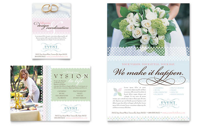 Wedding  Event Planning Flyer  Ad Template Design - wedding flyer