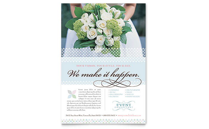Wedding  Event Planning Flyers Templates  Design Examples - wedding flyer