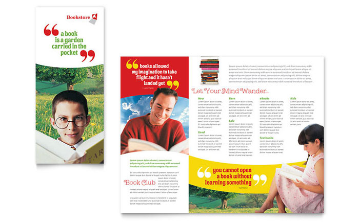Bookstore  Library Brochure Template Design - pamphlet layout template