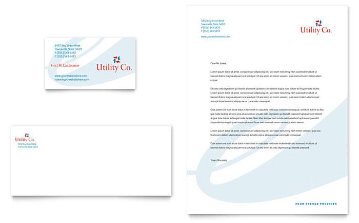 Utility \ Energy Company Business Card \ Letterhead Template Design - corporate letterhead template