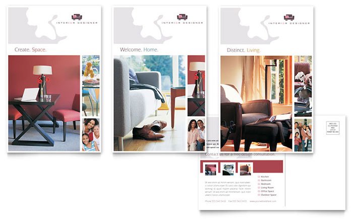 Interior Designer Postcard Template Design - interior design brochure template