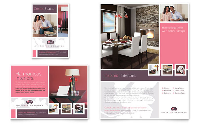 Interior Designer Flyer  Ad Template Design - interior design brochure template