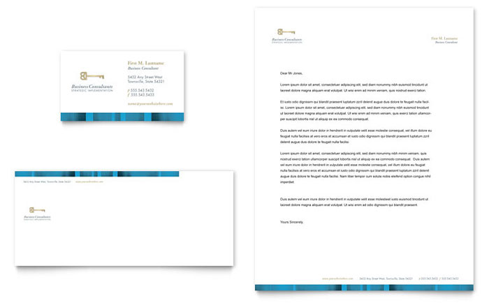 Small Business Consulting Business Card  Letterhead Template Design