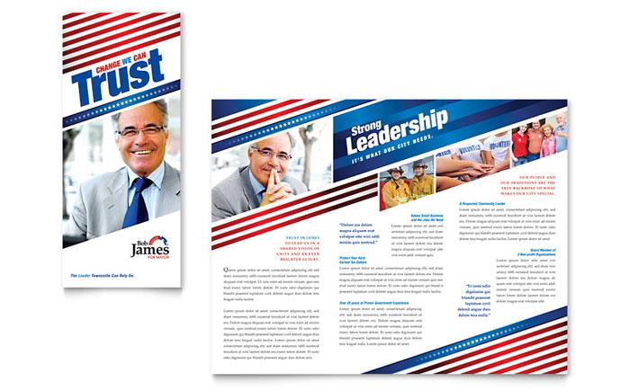 Political Campaign Tri Fold Brochure Template Design - campaign flyer template