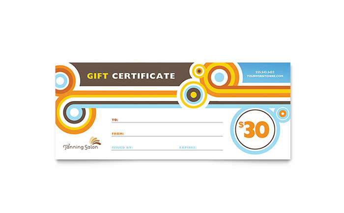 Tanning Salon Gift Certificate Template Design