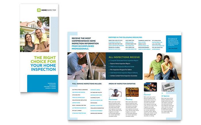 Home Inspection  Inspector Tri Fold Brochure Template Design