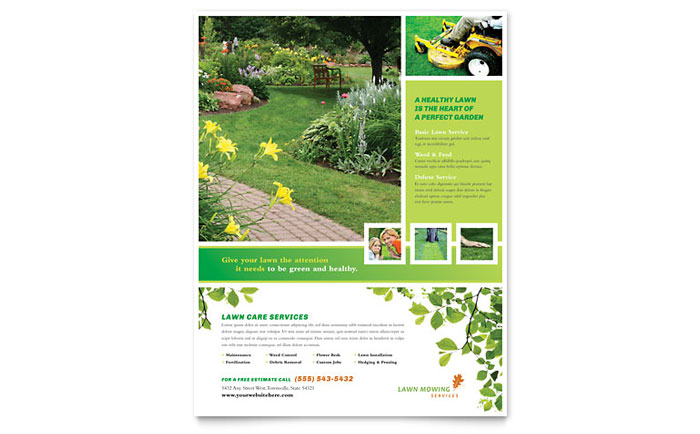 Lawn Mowing Service Flyer Template Design - lawn services flyer