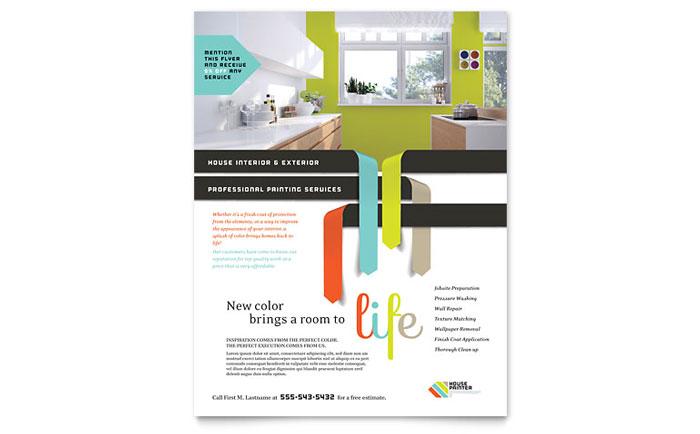 House Painter Flyer Template Design - house flyer template