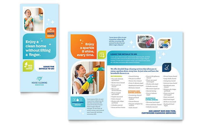 Cleaning Services Brochure Template Design - free pamphlet design