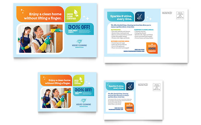 Cleaning Services Postcard Template Design - Microsoft Word Postcard Template