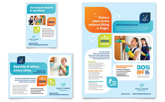 House Cleaning Service Print Ads Templates  Graphic Designs - advertising flyer template