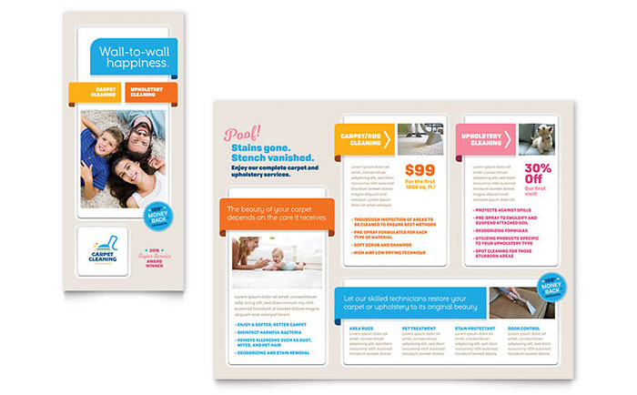 Carpet Cleaning Brochure Template Design - phamplet template