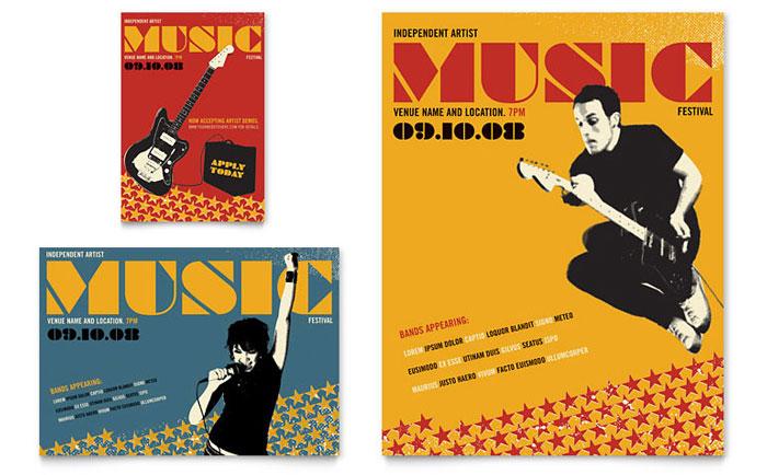 Live Music Festival Event Flyer  Ad Template Design