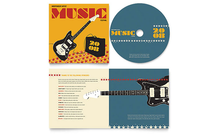 Live Music Festival Event CD Booklet Template Design - booklet templates